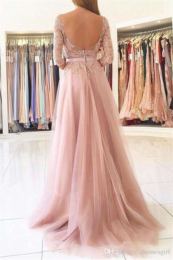 Erröten Rosa Seitenschlitz Abendgesellschaft Kleider Elegante Halbarm Spitze Appliques Tüll Lange Abendkleider Nach Maß Abendkleider Günstige