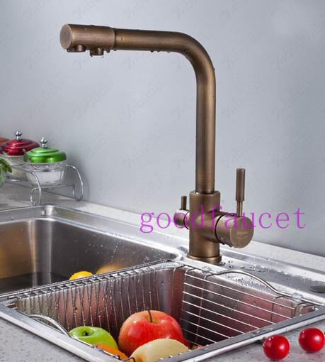 New Hot Sale Deck Mounted 3 Way Single Hole 2 Handles Kitchen Faucet