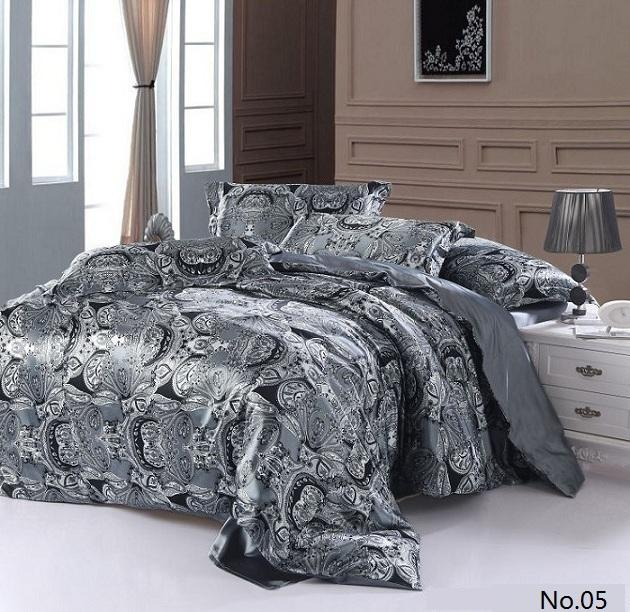 Silver Grey Paisley Silk Satin Bedding Sets California King Queen Size  Quilt Duvet Cover Fitted Sheets Bed In A Bag Linen Bedsheet 4/6/Teens  Bedding ...