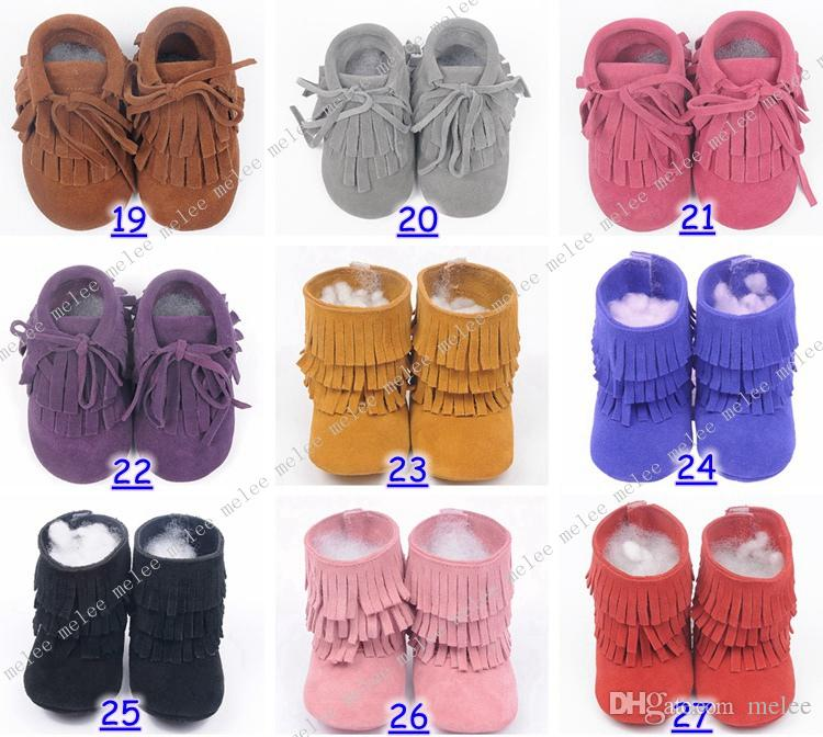 New Suede Leather Baby moccasins soft sole 100% genuine leather first walker shoes baby leather newborn shoes Tassels maccasions boot bootie