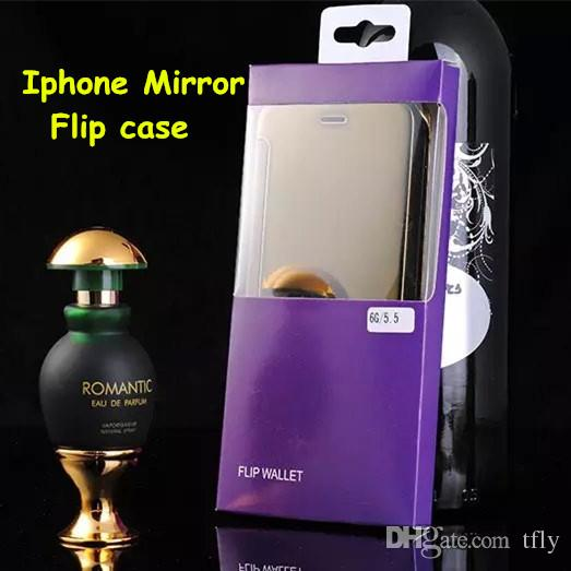 2015 For iphone 6 6 plus Galaxy S6 S6 edge Note 4 Mirror Chrome Clear View PC Wallet Flip Case Cover For Samsung Plus with retail box