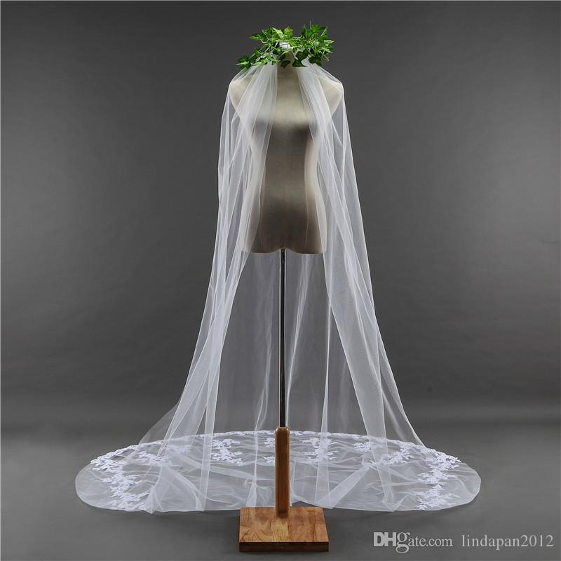 Long tail wedding bridal church ceremony with comb chapel length white one layer nice veil cover