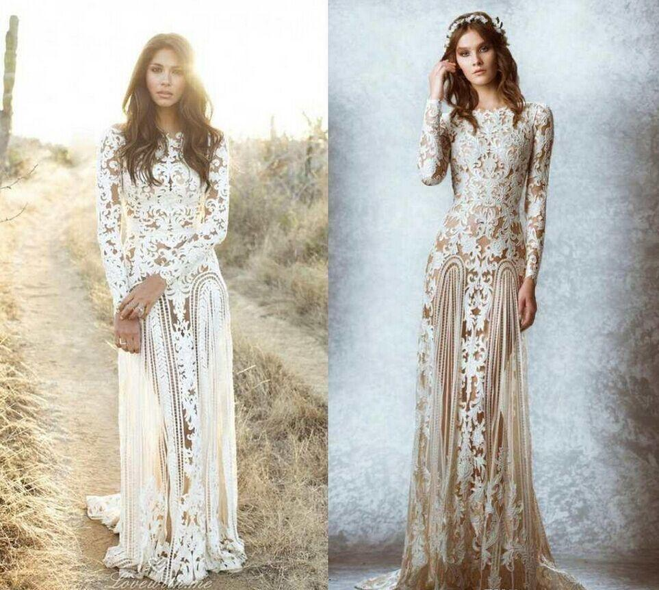 2016 Zuhair Murad Boho Wedding Dresses Lace Long Sleeves Sheer Neck Appliques Backless Beach
