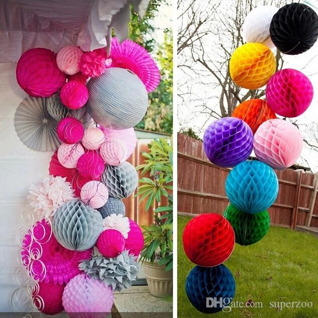 "10""/12"" 25/30cm Paper Honeycomb Flower Ball Party Stage Background Wedding Decoration Birthday Holiday Festive Christmas Lanterns"