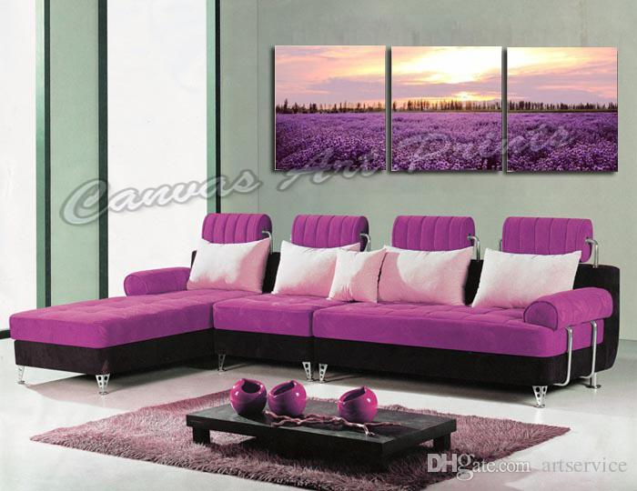 Cheap Home Decorative Wall Art Prints Panels Painting Floral Canvas Art Sets of Lavender Flower Framed Art Prints for Living Room