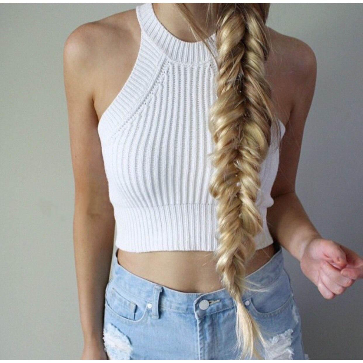 30e42dc3d0c29 2019 Brandy Melville Off Shoulder Knitted Bustier Crop Top Women Round Neck  Elastic Tube Tank Tops Beach Sexy Camis Sweater From Vera89