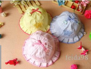 Baby cotton newborn hats summer caps toddle sunbonnet sunhat baby butterfly caps 50pcs/lot