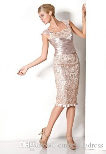 New pink cap sleeve sheath knee length mother dresses plus size lace bodice party cocktail dress backless short wedding guest gowns