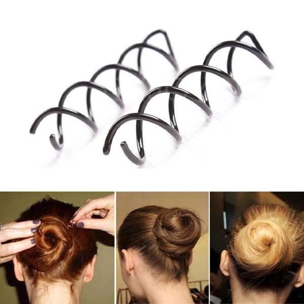 Espiral Spin Tornillo Pasador Pinza de pelo Horquilla Torcedura Accesorios para el cabello Negro Placa hecha Herramientas B Magia Cabello SCROO Accesorios de estilo nupcial
