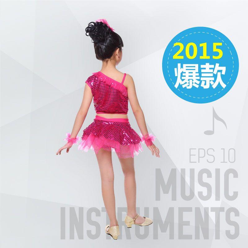 5ピース幼稚園子供のダンス服モダンダンスラテンダンスコスチュームスパンコールベールの女の子サマーショー