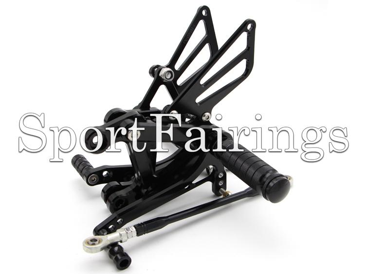 Negro Ajustable CNC Billet Rearset Juego trasero Reposapiés Foot Set Footpegs Foot Peg Para Kawasaki ZX6R ZX-6R Año 03 04 2003 2004 Motorcycle