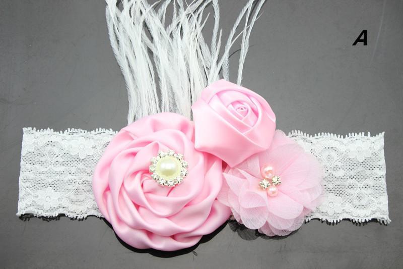 Nouvelle Perle Rose Fleur diamante avec une plume dentelle Bandeau bébé Accessoires cheveux Fleurs bande cheveux Livraison gratuite photo Prop YM6125