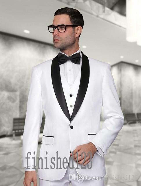 사용자 정의 만든 하나의 단추 흰색 신랑 턱시도 어깨 걸이 옷깃 Groomsmen 최고의 남자 웨딩 댄스 파티 정장 자 켓 + 바지 + 조끼 + 넥타이 G5163