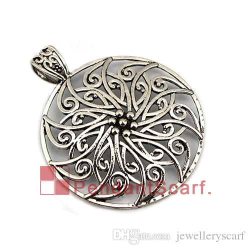 Hot Sale DIY Necklace Pendant Scarf Jewelry Accessories Round Hollow Out Flower Charm Jewellery Scarf Pendant, AC0413