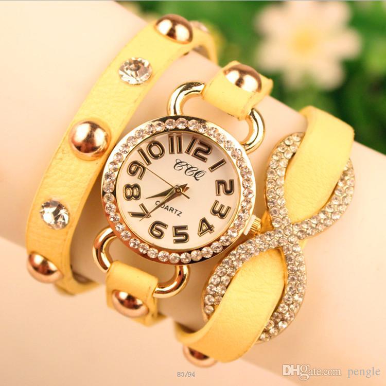 Envoltura caliente Moda Mujeres Señora Relojes de pulsera Diamantes Caso Pulseras encantadoras Relojes Mezcla de colores Gota Envío Gratis
