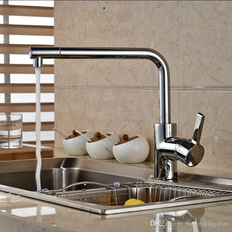 2019 Chrome Finished Swivel Spout Long Neck Kitchen Sink Faucet