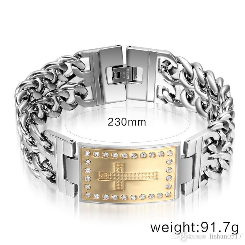 Venta al por mayor de joyería de moda de titanio pulsera de acero para hombres regalos de Navidad del día de San Valentín con una hermosa caja