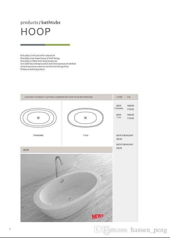 Certificat CUPC 1600X850X580mm Baignoire acrylique autoportante ovale en acrylique + panneau composite Bac de rétention ultra-mince WD001