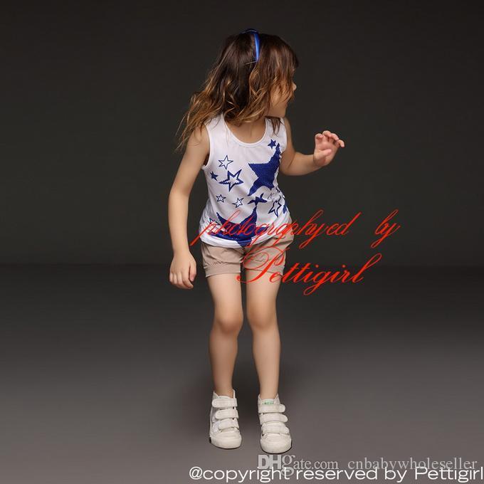 Pettigirl 2016 En Gros Enfants Vêtements D'été Vêtements Ensemble Sans Manches Filles Bleu Étoiles T Shirt Et Gris Pantalon Enfants Vêtements CS30301-04