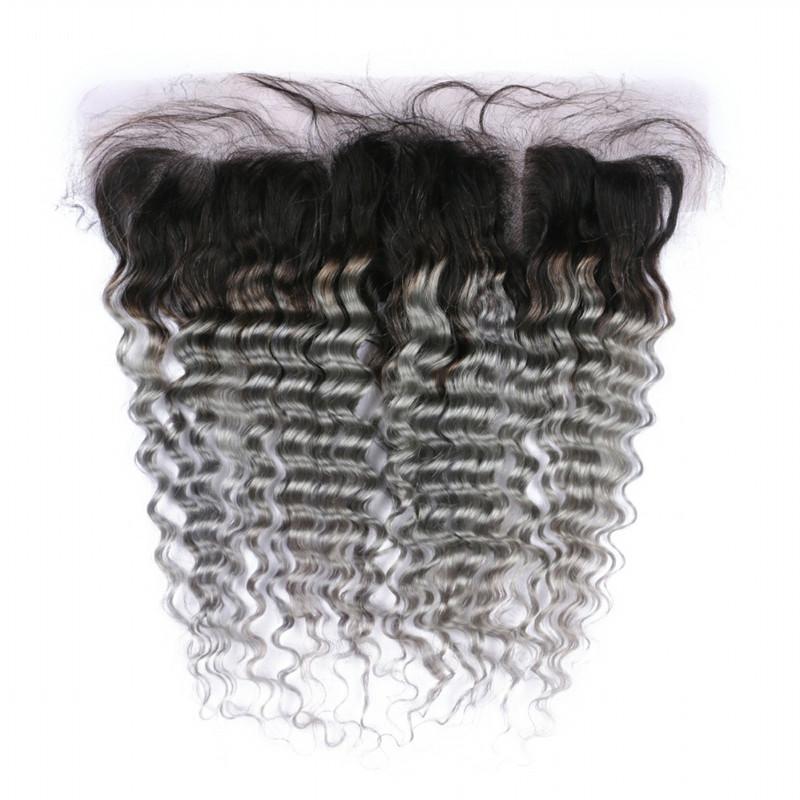 말레이시아 실버 그레이 Ombre 인간의 머리카락 번들 레이스와 전면 13x4 딥 웨이브 옹약 1B 그레이 전체 레이스 정면과 직물