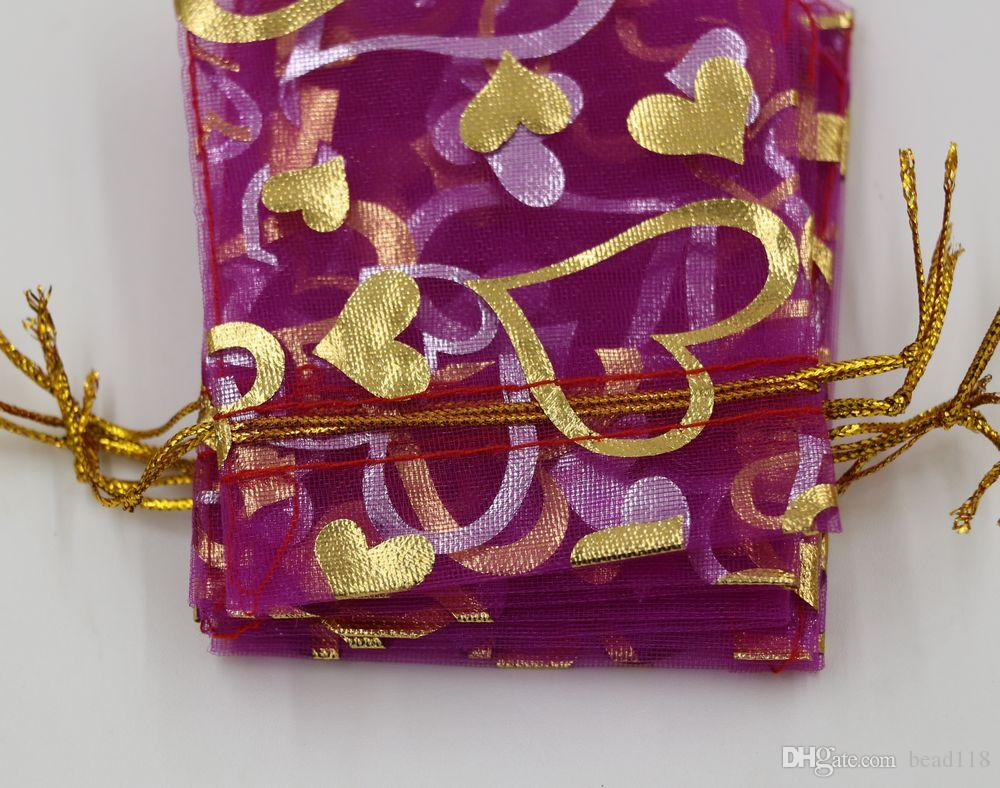 Горячо ! Упаковка ювелирных изделий Роза красное сердце органза сумка свадьба пользу подарочные пакеты 7x9cm /9x12cm / 13x18cm