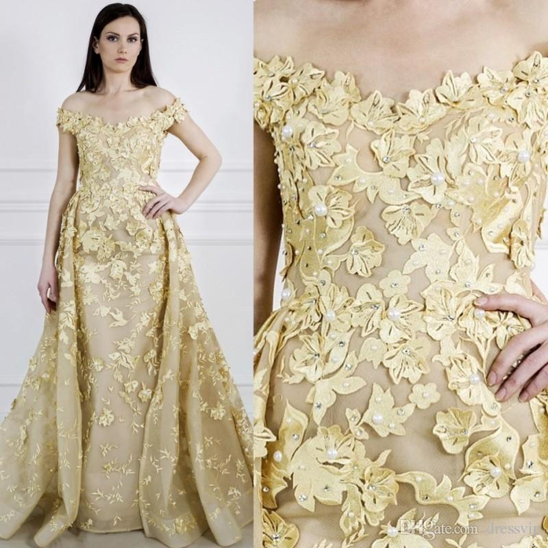3d Floral Applique Pearls Gold Prom Dresses Sweep Train Off The ...