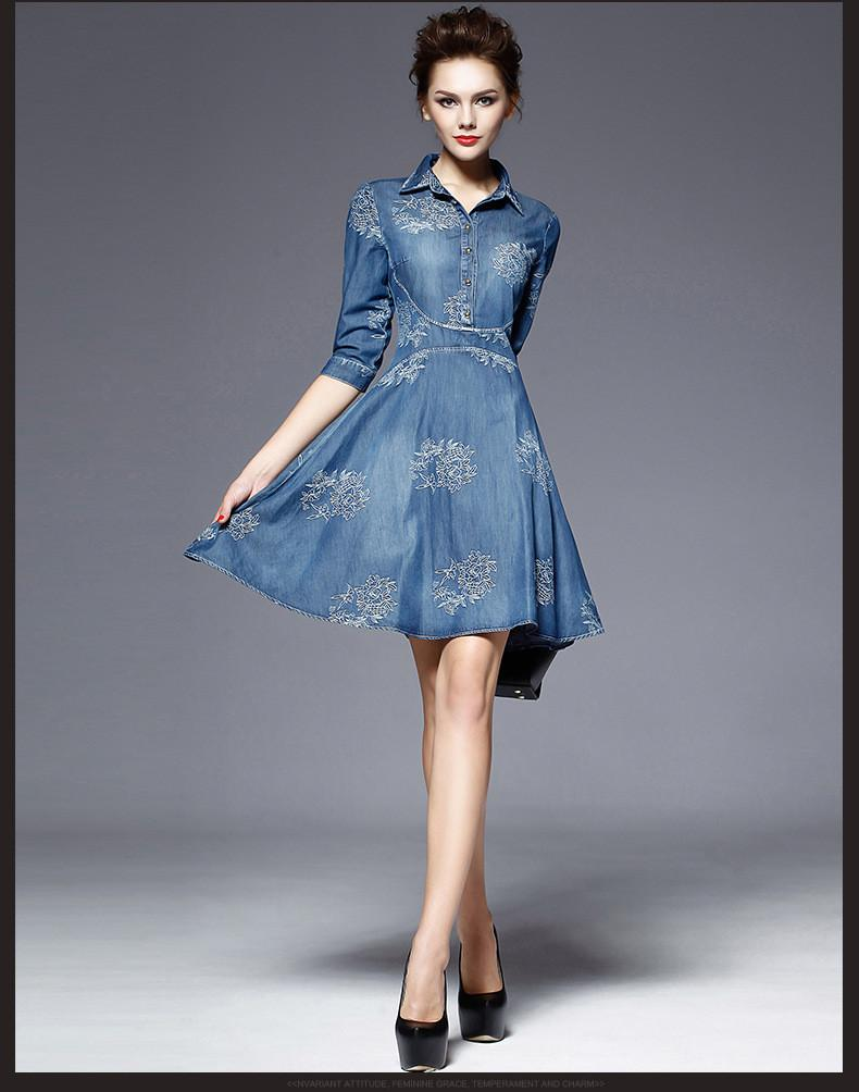 2016 Woman Elegant Jeans Vestidos Woman Cotton Jeans One Piece Dress ...