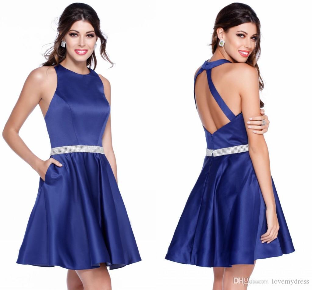 2018 Royal Blue Simple Cheap Short Dress Halter Satin A Line Keyhole ...