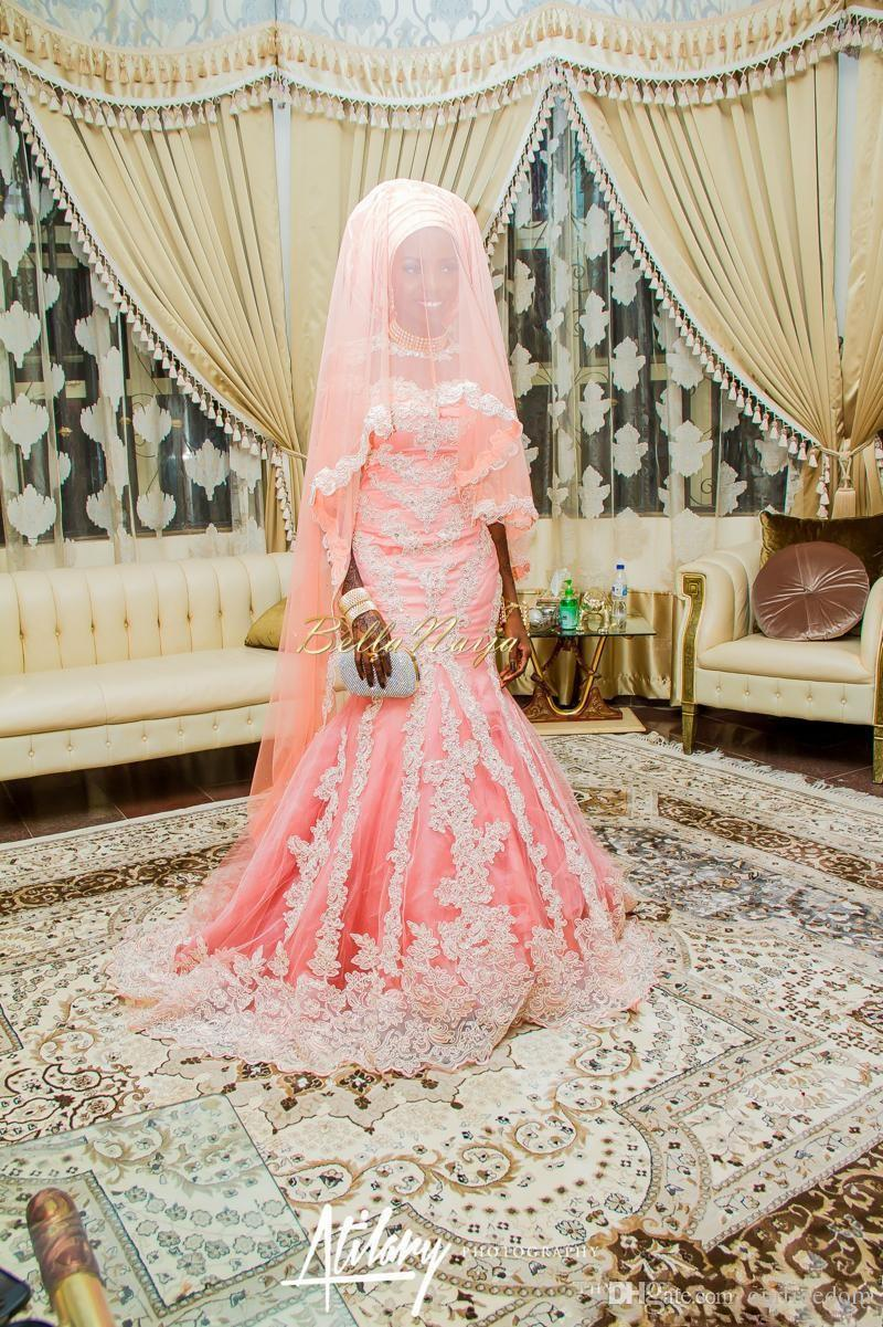 2019 Vintage African Blush Pink Wedding Dresses Mermaid Lace Appliqued Crew Neck Sequins Arabic Muslim Moroccan Bridal Gowns Long Sleeves