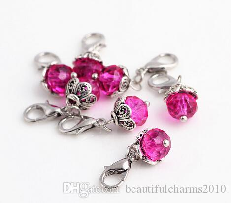 Mix Colors Crystal Birthstone Dangles Birthday Stone Pendant Charms Beads With Lobster Clasp For Floating Locket