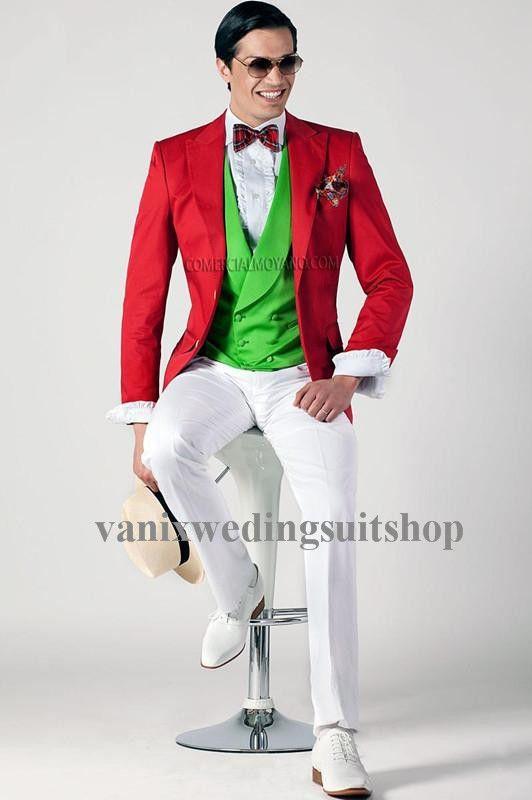 2015 Top Selling Red Jacket Green Vest Men Suits Groomsman Suit ...