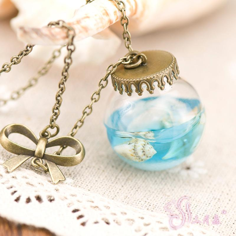 Collares pendientes Mujer Vintage Joyería Hecha A Mano collar de cadena Mar del Mar Botella de Cristal Colgante de sirena Lágrimas Conchas Estrella Vial botella actual