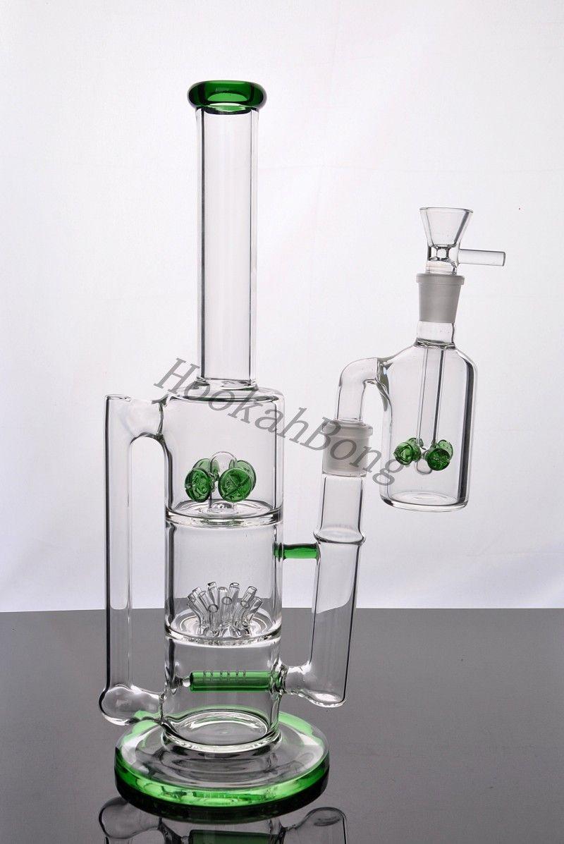 Envío gratis Nuevo estilo colorido Bongs Tubos de agua de vidrio con engranaje Perc Thick Recycler rociadores de aceite 2 funciones hookahs Nuevo llega