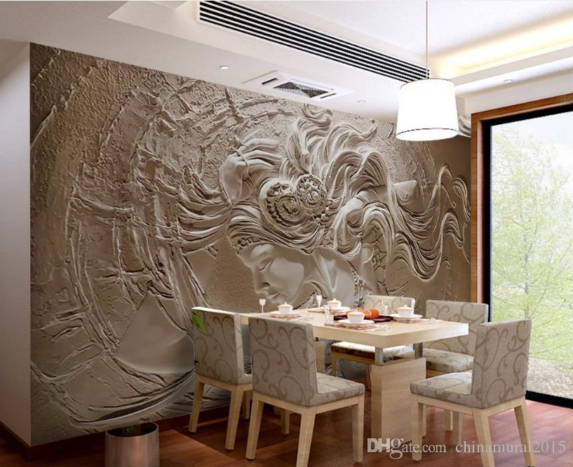fondos de pantalla personalizados para la sala de paredes de salón de belleza en relieve 3d paisaje mural de papel tapiz de rollo tamaño