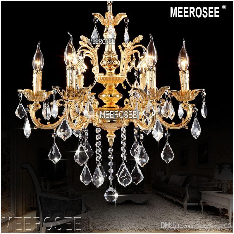 classic 6 arms golden clear crystal chandelier light fixture crystal lustre hanging lamp for foyer lobby md8861 l6 d580mm h600mm chandelier bulbs cream - Kronleuchter Fur Foyer