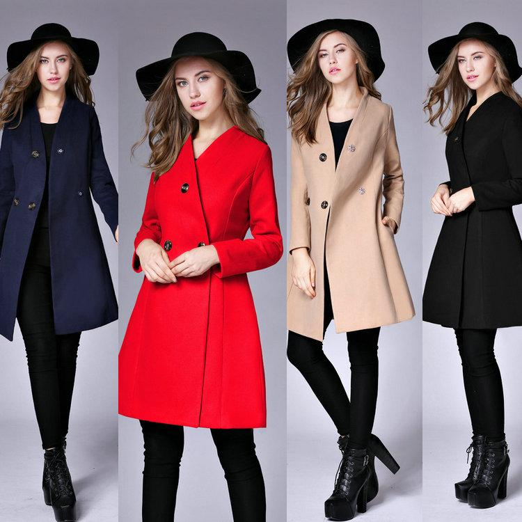 3dd3c79b9fab Hot New Winter Women's Overcoat V-neck Double Breasted Wool Coat ...