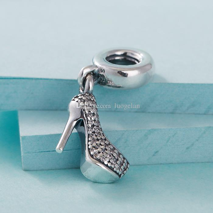 Fits Pandora Bracelets Stiletto Dangle Silver Beads With Cubic Zirconia 2015 New 100% 925 Sterling Silver Charms DIY jewelry Wholesale