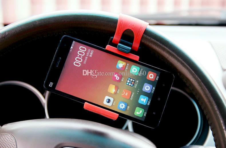 Universal Car Steering Wheel Mobile Phone Holder, Bracket for iPhone 4S 5 6 plus Samsung Galaxy S4 S5 S6 Note 3 4 Smartphone GPS