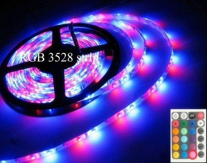 ماء IP65 LED الشريط 5M SMD 3528 RGB قطاع الخفيفة 12V 300LEDS أشرطة روبان 24W مع 24 مفاتيح تحكم عن بعد 2A محول التيار الكهربائي