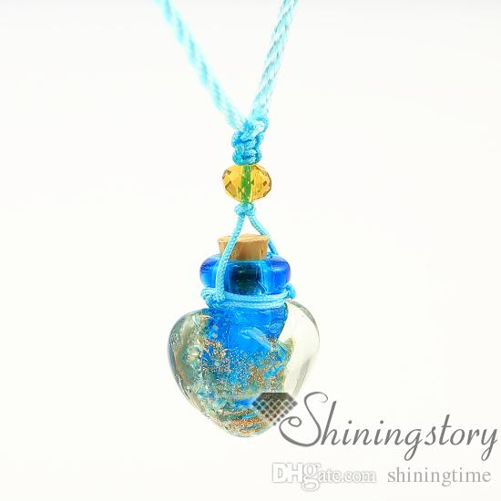 heart glitter luminous glitter luminous heart essential oil jewelry diffuser necklaces aromatherapy pendant vial jewelry Perfume bottle