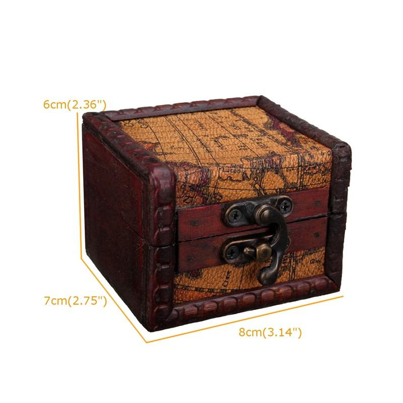 Vintage Jewelry Box Jewellery Organizer Storage Case Mini Retro Map Pattern Wood Container Cases Small Decorative Wooden Boxes High Quality Ch
