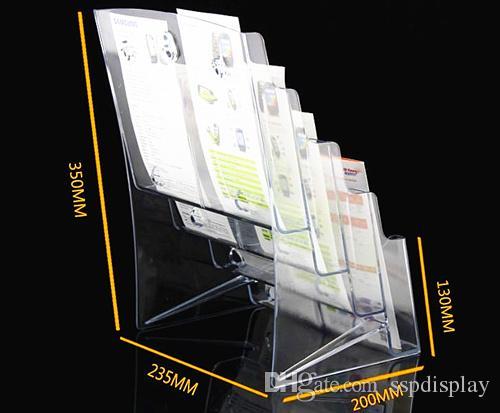 Opuscolo trasparente A6 otto opuscoli opuscolo Letteratura plastica acrilico Display Holder Stand inserire il depliant sul desktop 2 pezzi da Express