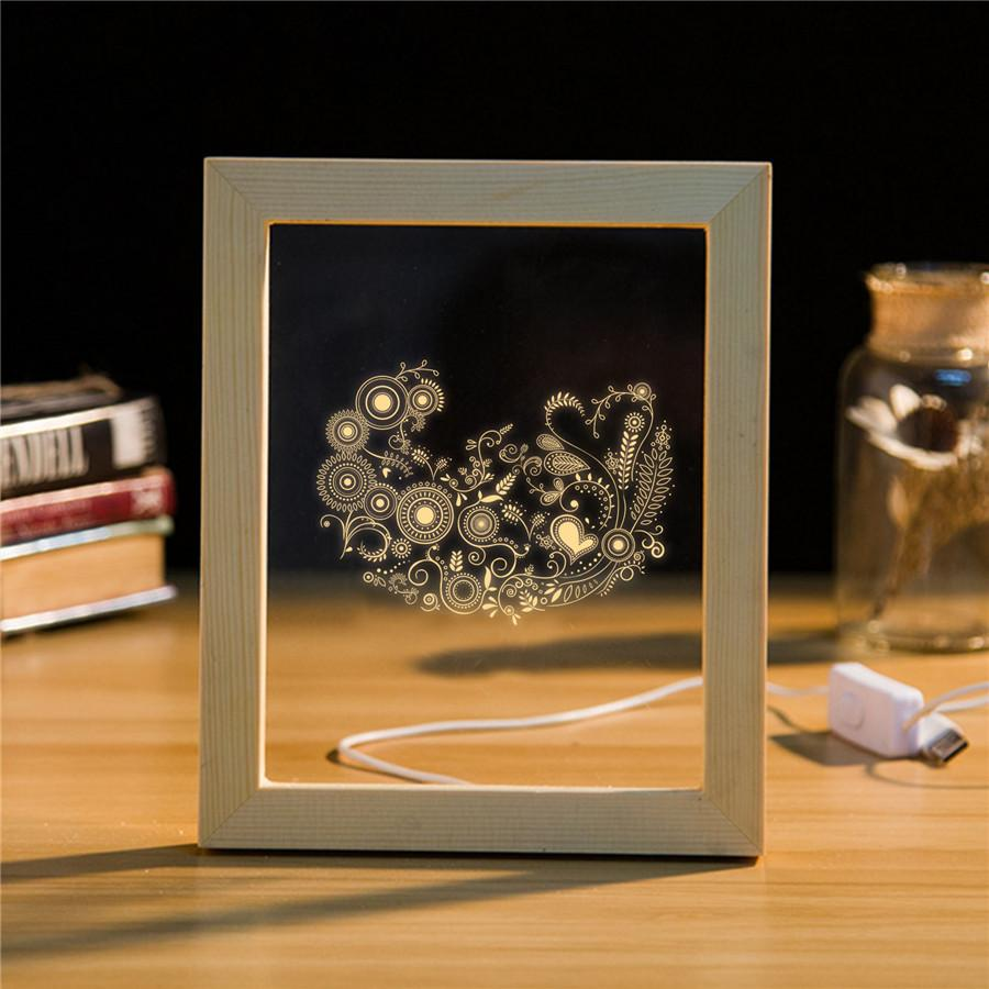 Großhandel 3d Handmade 3d Bilderrahmen Led Nachtlicht Holz Tisch ...