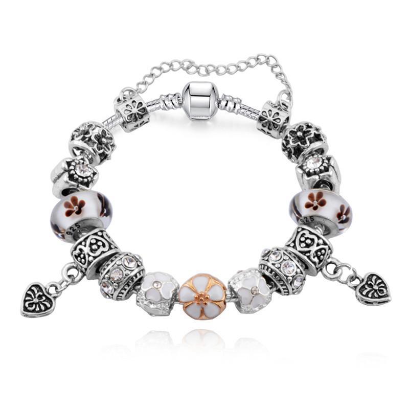 I più nuovi Braccialetti di fascino con perle di vetro di Murano di fiori Il cuore ciondola i braccialetti di catena a forma di serpente di moda le donne BL107
