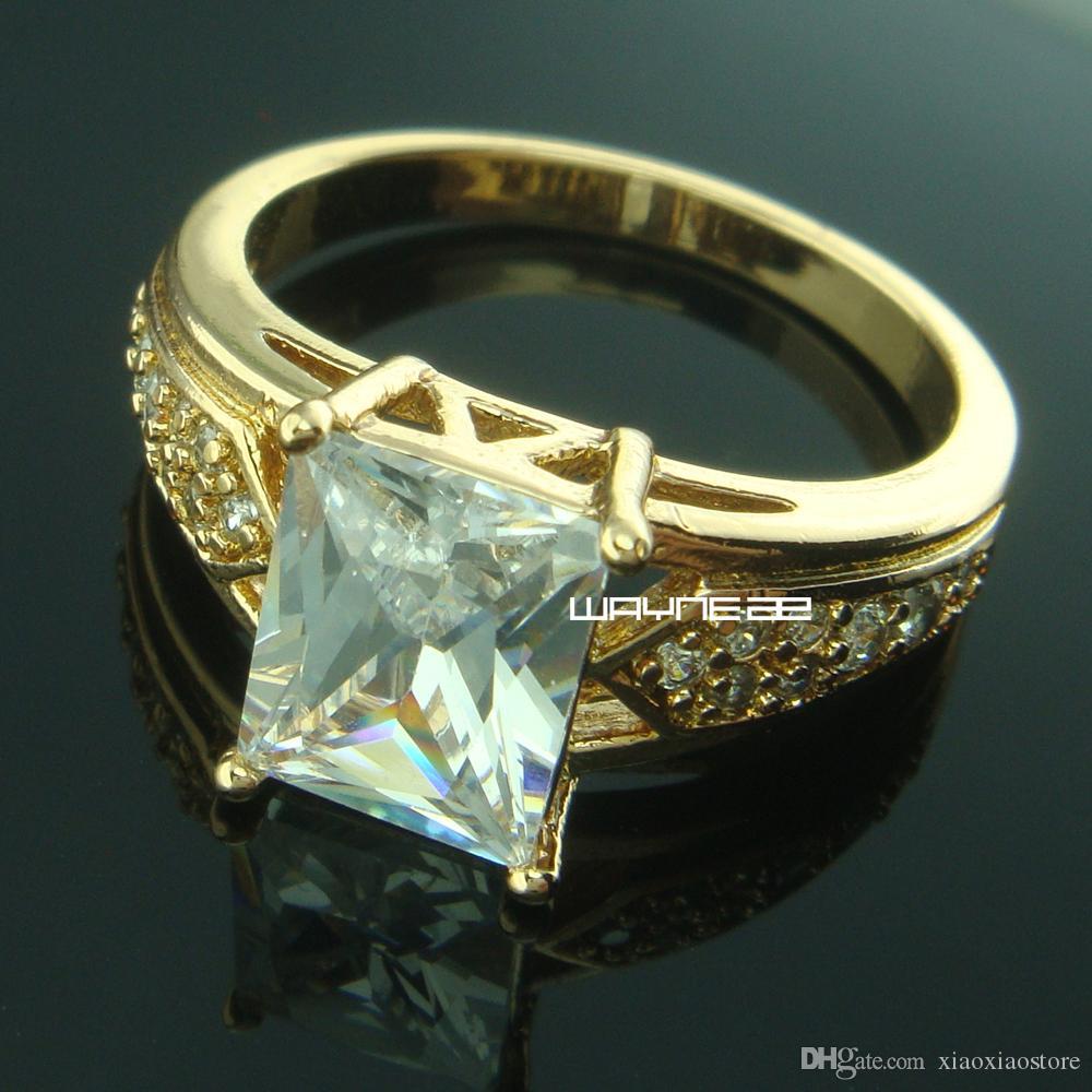 Anello di fidanzamento in oro bianco 18 kt con zaffiri bianchi, stile anni '80 - 8.5 r207