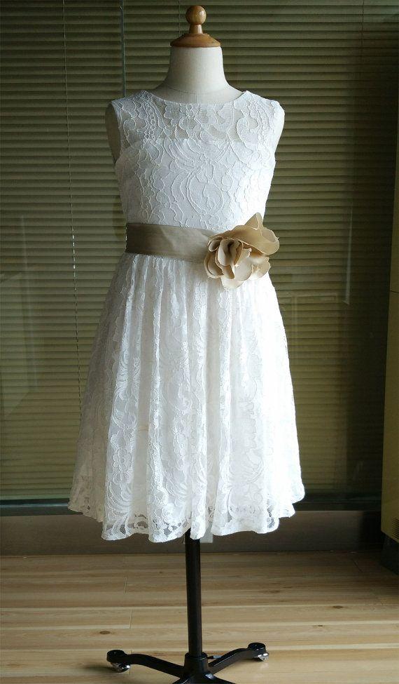 af60ad1ee1d2b Ivory Lace Tulle Flower Girl Dress Tutu Princess Kids Children Girl Dress  Junior Bridesmaid Dress With Champagne Sash Detachable For Wedding