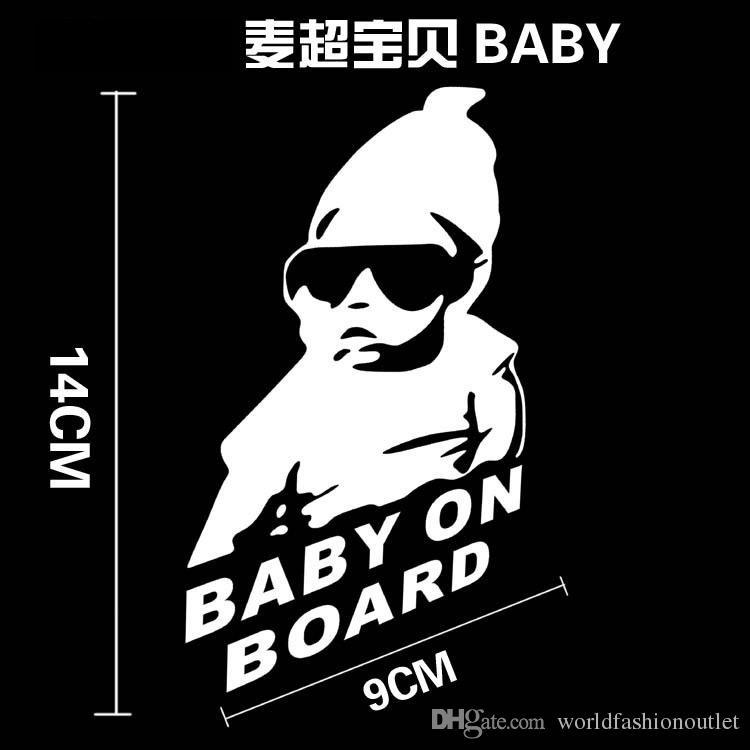 Bebê fresco a bordo adesivos de carro Styling adesivo de motocicleta decalques de vinil reflexivo personalizado impermeável acessórios removíveis preto / branco