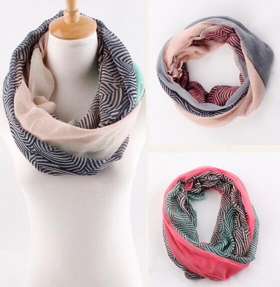NEW fashion Stripe gradients voile wave pattern Chevron Infinity Scarves Womens shawl super long scarf F125