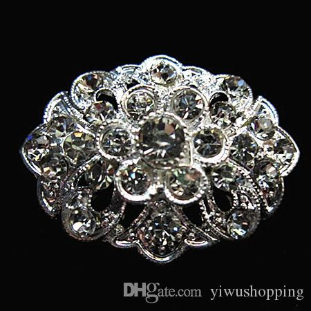 ! Rhodium Silver Planted Small Size Clear Crystal Rhinestone Nice Design Flower Pin Brooches For Wedding Bouquet