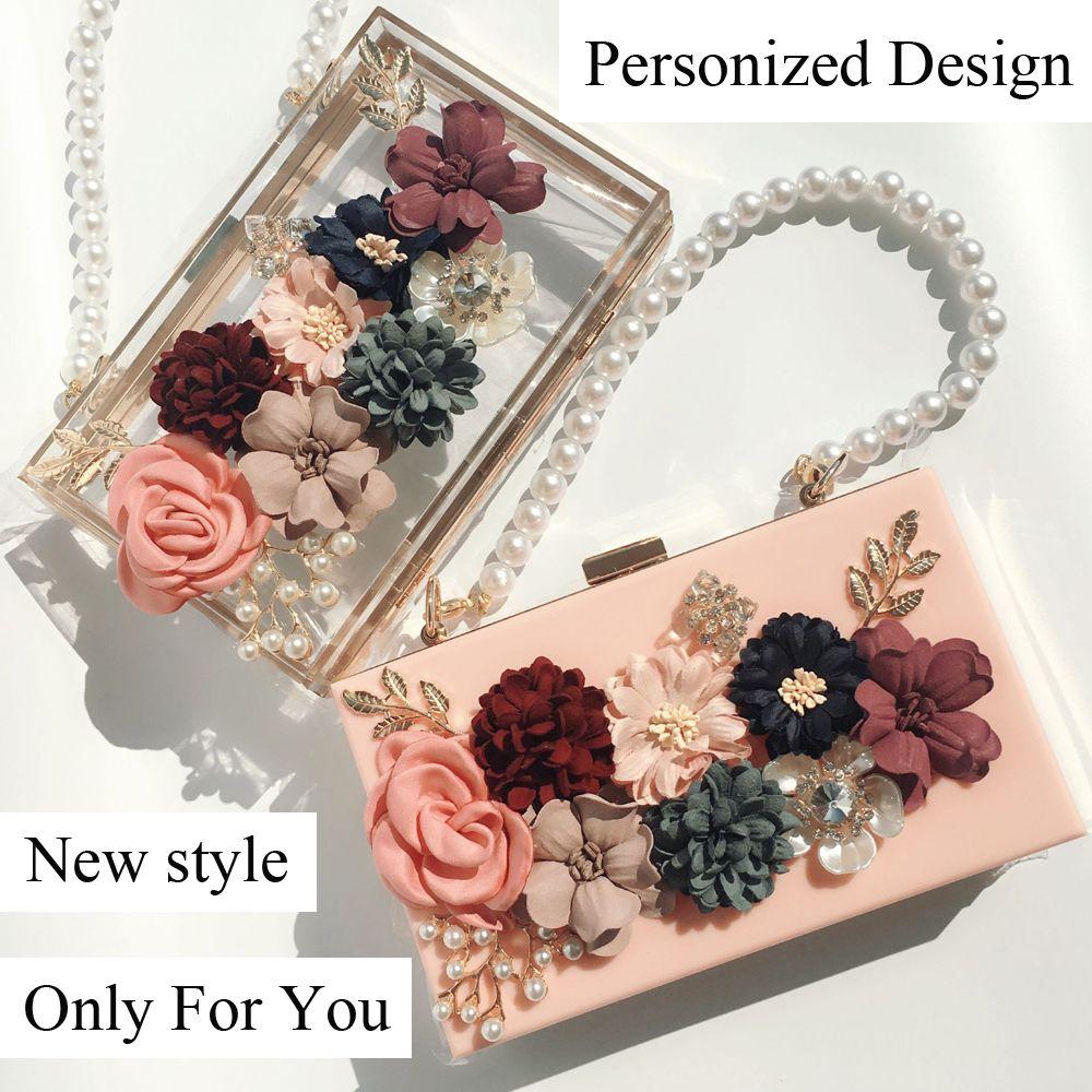 Women Luxury Bag Evening Bags Wedding Party Pearl Flower Chain Shoulder Bride Handbag Crossbody Hard Box Clutch Christmas Gift